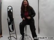 Busty asian girlfriend fucked hard on a photoshoot
