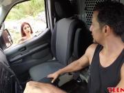 Naughty Sally Squirt got her twat destroyed by van driver
