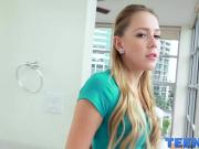 Innocent looking teen Hollie Mack getting her pussy streched