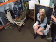 Lesbian couple fucking with pawn dude at the pawnshop