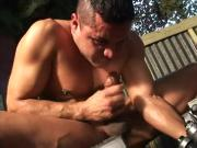 Gay anal boner at the backyard bareback