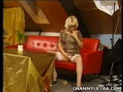 Blonde Grandma Pinches Her Peaks