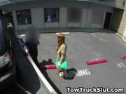Wild Redheaded Dirtbag Sucking Dick In Tow Truck POV