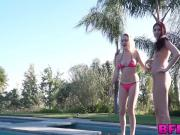 Horny college teens having a foursome outdoors by the pool