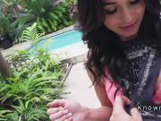 Burglar amateur banged by the pool pov