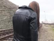 Victoria Sweet straddles a dick by the train tracks