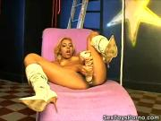 Exotic Blonde Gets Off With a Dildo