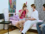 Guy assists with hymen examination and shagging of virgin kitten