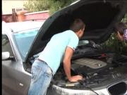 The mechanic swap blowjob and fucks anal doggy style