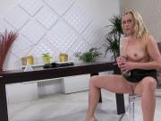 Glamorous girl is peeing and fingering shaved vagina