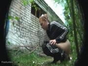 Gross Chick Pees In The Jungle