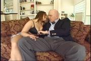 Busty Brunette Screws Old Guy For Money