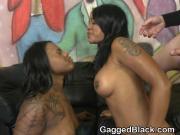 Face Pounding Two Black Ghetto Sluts In Filthy Foursome