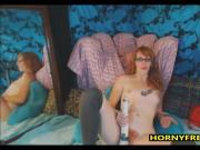 Nerdy Hairy Redhead Sucks Dildo And Vibrates Clit