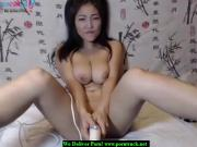 Big breats asian masturbates on webcam with a dildo