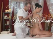 Oiled busty brunette bangs masseur