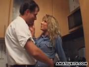 Amateur blonde Milf sucks and fucks in the kitchen