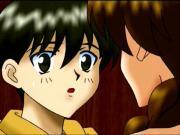 Anime schoolgirl rubbing her bald quim in the shower