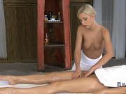 Blonde lesbian masseuse tribbing till orgasm