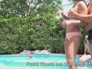 Wild foursome fuck party by pool