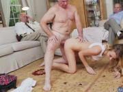 Blonde slut Molly Mae enjoys fucking with old men