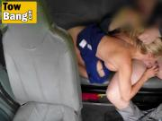 Fake car tow busty cougar blowjob doggy style