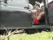 Two lovely blonde angels hard fucking with the driver
