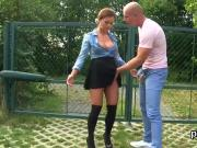 Astonished stunner in lingerie is geeting urinated on and pounded