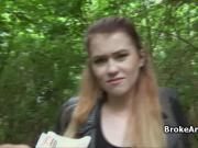 Pounding broke British babe in forest