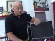 Lucky bald stud makes busty babe squeal like a bitch