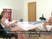 Spanish couple fuck female agent