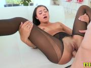 Amazing Marina Angel is tempted by a dudes fat monster dick