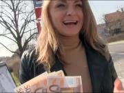 Sexy amateur blonde Eurobabe gets slammed in public