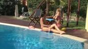 Adorable Girls Doing Their Thing Near Pool