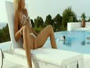 Young (18+) Blonde Beauty Fucks 2 Cocks Poolside - Free Sex Video