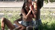 Street Threesome. Awesome! - Free Porn Video