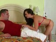 Mature Brunette Sucks Big