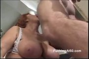 Redhead Granny Gives A Naughty Blowjob - Free Sex Video