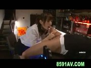 Busty Yuma Asami Gives Bartender Great Blowjob - Free Sex Video