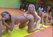 4 Hot Teen(18+) Girls Do Aerobic And Suck Dick - Free Porn Video