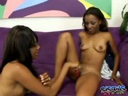 Cute and horny ebony lesbos shaved twats - Free Porn Video