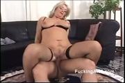 Guy Spoons Blonde Granny In Pantyhoes - Free Sex Video