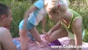 Outdoor Threesome Fucking With Two Chicks - Free Porn Video