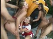 Cheerleader Team Banged in Public! Part 2