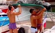 Boat cock sucking hunk threesome