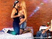 Blonde Ladyboy Tongues Manhood During 3some