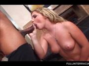 Naughty blonde fellates black dick with lust