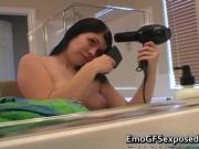 Hottie teen emo in the bathroom fixing her hair 2 by em