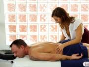 Busty brunette masseuse Keisha Grey fucked her horny cl
