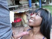 Pretty ebony chick Ashton Devine outdoors sex with neig